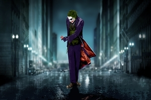 Batman Joker Walking on Road Photos