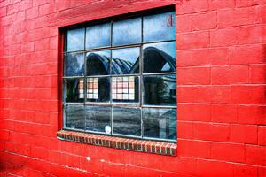 Glass Window in Red Wall