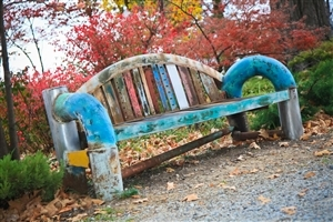 Nice Colorful Bench in Garden Photos