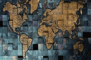 World Map in Tiles Background