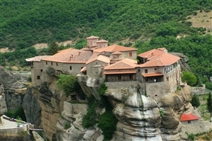 Amazing Monastery on a Cliff Palace Wallpaper