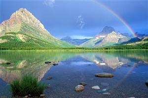 Landscape with Rainbow Shadow on River