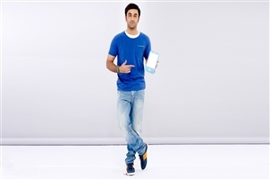 Ranbir Kapoor in Blue TShirt Wallpaper