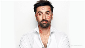Red Lipstick Kisses Sign on Ranbir Kapoor Face Photo