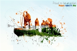 Gandhiji on Happy Republic Day 26 January Nice Images