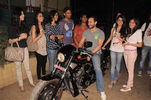 Saif Ali Khan Ride Bike for Promote Agent Vinod Movie