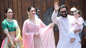 Saif Ali Khan with Kareena and Karisma Kapoor 4K Wallpaper