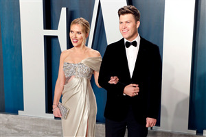 Actress Scarlett Johansson with Colin Jost