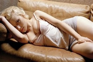 Beautiful Scarlett Johansson  Hollywood English Actress Sleeping on Chair HD Photos