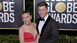 Colin Jost and Scarlett Johansson Smile Face