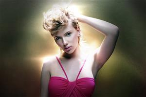 HD Nice Scarlett Johansson Image in Pink with Different Hairstyle