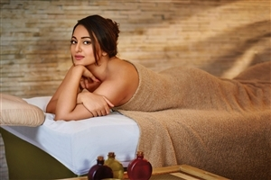 Sonakshi Sinha with Bath Towel on Bed