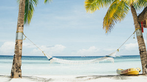 White Hammock in Beach Summer 4K Wallpaper