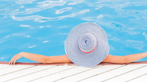 Woman Relaxing in Pool Summer 4K Wallpapers