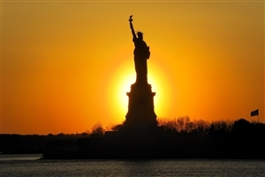 Amazing Sunset Pic of Statue of Liberty
