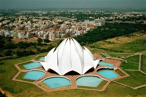 Beautiful Lotus Temple in Delhi India HD Wallpaper