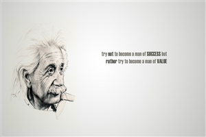 Albert Einstein Famous Quote on Success and Value HD Wallpaper