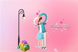Cartoon Couple on Valentines Day with Gift