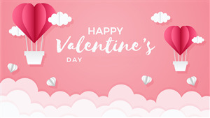 Happy Valentine Day Cloud Theme Background Image