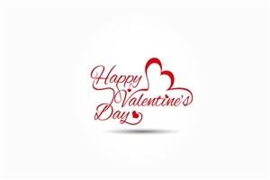 Happy Valentines Day in White Background