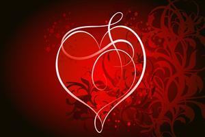 Red Heart With Red Design Background