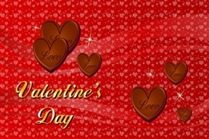 Valentines Day Chocolate Heart and Red Background Photo