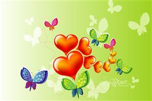 Colorful Heart and Butterfly Vector Desgins