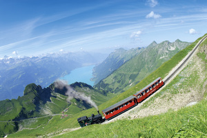 Amazing Drone View of Train in Switzerland HD Pics