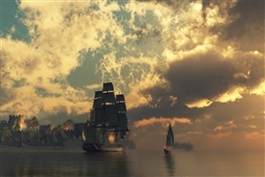 Amazing Frigate in Sea Wallpapers