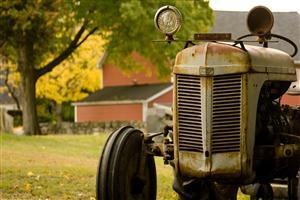 Tractor in Village Wallpaper