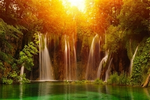 Amazing Nature Waterfall Background Wallpaper