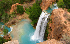 Beautiful Havasu WaterFalls in Arizona US Photo
