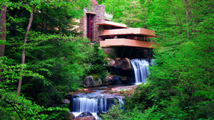 Fallingwater Waterfall in Mill Run Pennsylvania US Wallpaper
