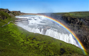 Gullfoss Waterfall with Rainbow in Iceland Wallpaper