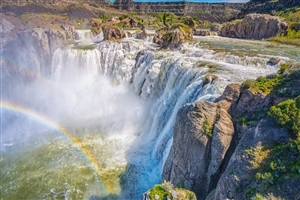 Shoshone Watefalls with Rainbow in Idaho USA