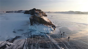 Lake Baikal Icy Lake in Russia During Winter Tourist Place Photo