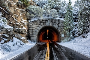 Road Tunnel in Winter Photo
