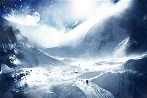 Snowy White Winter View Wallpaper