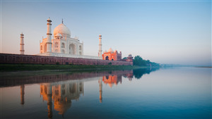 Wonder of The World Taj Mahal at River Shore Photo